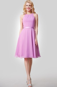 Chiffon Knee Length A-Line Dress With Straps and Satin Bow Sash