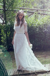 Jewel Bell Sleeve Illusion Back Long Tulle Wedding Dress With Beading And Bow