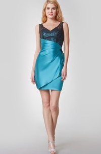Enchanting V-neck Ruffled Short Satin Dress With Deep-v Back