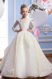 Ball Gown V-neck 3-4 Sleeves Beading Flower Girl Dress
