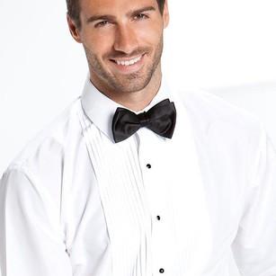 White Pleated Laydown Tuxedo Shirt