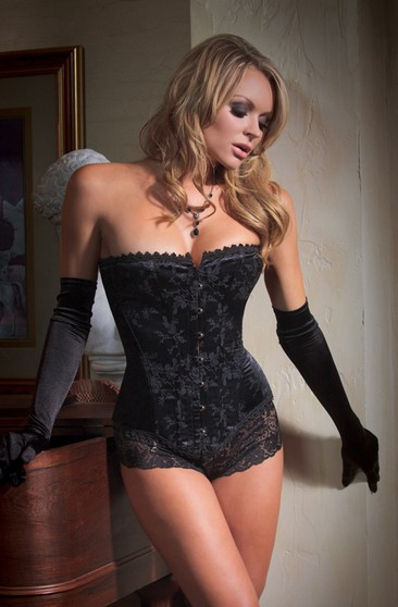 Printed Black Corset With Straps Back And Panty