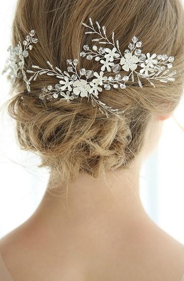3 Chic Western Style Crystal Leaf Hair Pins